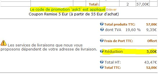 Coupons reduction sortie